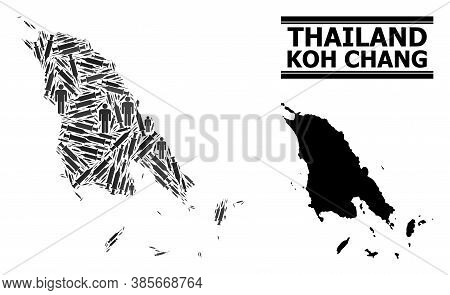 Vaccine Mosaic And Solid Map Of Koh Chang. Vector Map Of Koh Chang Is Shaped With Vaccine Symbols An