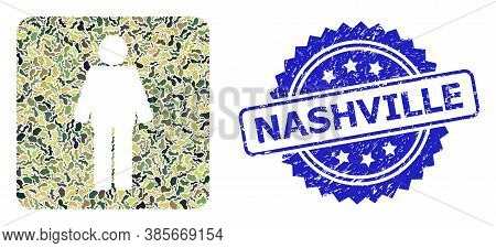 Military Camouflage Composition Of Man, And Nashville Corroded Rosette Watermark. Blue Stamp Contain