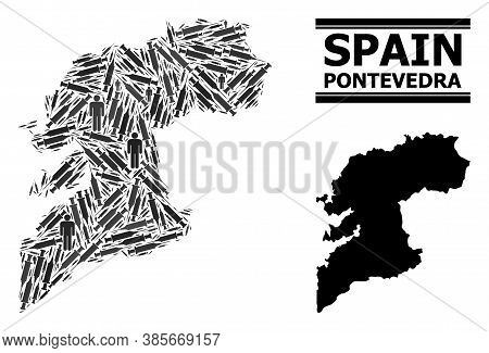 Syringe Mosaic And Solid Map Of Pontevedra Province. Vector Map Of Pontevedra Province Is Done With