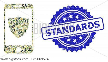 Military Camouflage Combination Of Smartphone Shield, And Standards Scratched Rosette Seal Imitation