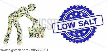 Military Camouflage Composition Of Tired Buyer Persona, And Low Salt Unclean Rosette Stamp Seal. Blu