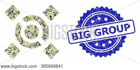 Military Camouflage Collage Of Central Link, And Big Group Dirty Rosette Stamp Seal. Blue Stamp Seal