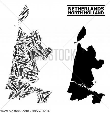 Virus Therapy Mosaic And Solid Map Of North Holland. Vector Map Of North Holland Is Organized With S
