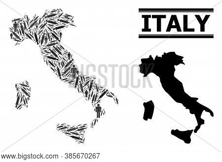 Virus Therapy Mosaic And Solid Map Of Italy. Vector Map Of Italy Is Formed From Vaccine Symbols And