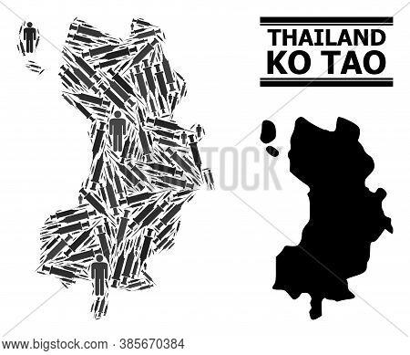 Vaccine Mosaic And Solid Map Of Ko Tao. Vector Map Of Ko Tao Is Made From Vaccine Symbols And Men Fi