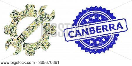 Military Camouflage Combination Of Service Tool, And Canberra Grunge Rosette Stamp Seal. Blue Seal I