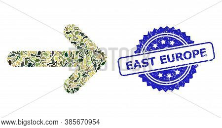 Military Camouflage Collage Of Right Arrow, And East Europe Unclean Rosette Stamp Seal. Blue Stamp C