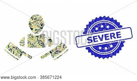 Military Camouflage Composition Of Butcher Man, And Severe Grunge Rosette Stamp Seal. Blue Stamp Sea