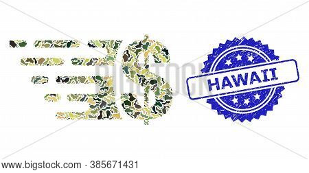 Military Camouflage Collage Of Dollar, And Hawaii Textured Rosette Seal Print. Blue Seal Has Hawaii