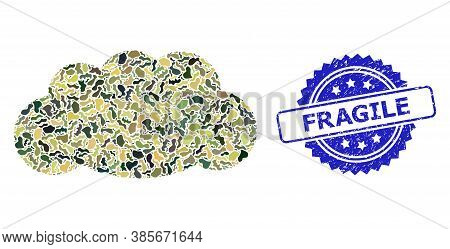 Military Camouflage Collage Of Cloud, And Fragile Dirty Rosette Stamp. Blue Stamp Has Fragile Title