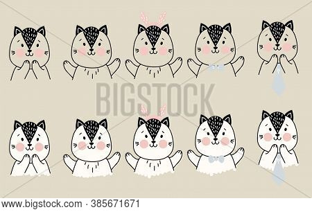 Set Of Cute Simple Pets. A Cat With Different Gestures Of Delight And Joy, And Items Of Festive Deco