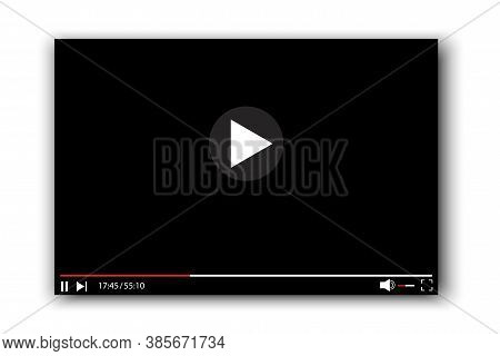 Playing Media Player. Video Player Interface. Turntable With Buttons And Bar. Vector Illustration.