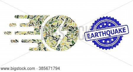 Military Camouflage Collage Of Electric Charge, And Earthquake Dirty Rosette Stamp Seal. Blue Stamp