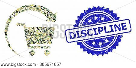 Military Camouflage Composition Of Repeat Shopping Order, And Discipline Grunge Rosette Seal Imitati