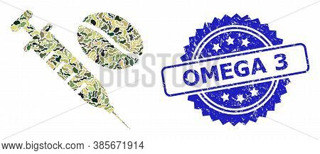 Military Camouflage Combination Of Coffein Syringe, And Omega 3 Textured Rosette Seal Imitation. Blu