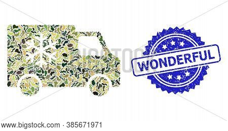 Military Camouflage Collage Of Refrigerator Car, And Wonderful Dirty Rosette Seal Imitation. Blue St