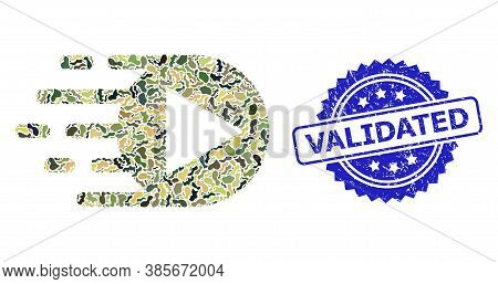Military Camouflage Combination Of Play Function, And Validated Unclean Rosette Seal Imitation. Blue
