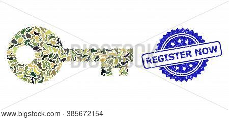 Military Camouflage Collage Of Key, And Register Now Textured Rosette Stamp Seal. Blue Stamp Seal In