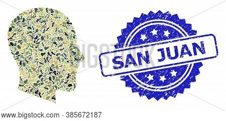 Military Camouflage Composition Of Gentleman Profile, And San Juan Scratched Rosette Seal Imitation.