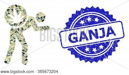 Military Camouflage Collage Of Cannabis Courier, And Ganja Unclean Rosette Stamp Seal. Blue Stamp Se