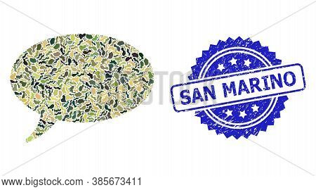 Military Camouflage Combination Of Message Cloud, And San Marino Dirty Rosette Seal Print. Blue Stam