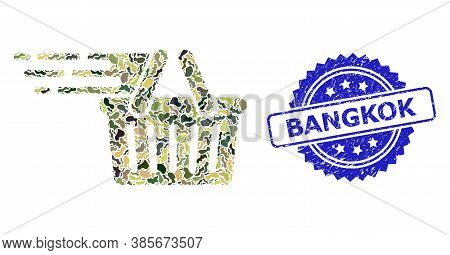 Military Camouflage Composition Of Shopping Basket, And Bangkok Textured Rosette Stamp Seal. Blue Se