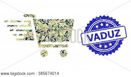 Military Camouflage Collage Of Shopping Cart, And Vaduz Unclean Rosette Stamp. Blue Stamp Seal Inclu