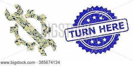 Military Camouflage Combination Of Repair, And Turn Here Unclean Rosette Seal Print. Blue Stamp Seal