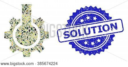 Military Camouflage Composition Of Chemical Industry, And Solution Textured Rosette Stamp Seal. Blue