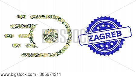 Military Camouflage Collage Of Speed Core, And Zagreb Rubber Rosette Stamp Seal. Blue Seal Includes