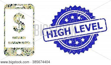 Military Camouflage Composition Of Mobile Dollar Account, And High Level Rubber Rosette Stamp. Blue