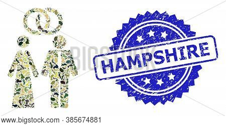 Military Camouflage Collage Of Marriage Persons, And Hampshire Unclean Rosette Stamp Seal. Blue Stam