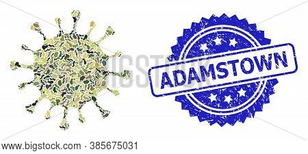 Military Camouflage Collage Of Microbe, And Adamstown Rubber Rosette Seal Print. Blue Seal Includes