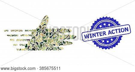 Military Camouflage Collage Of Moving Hand, And Winter Action Dirty Rosette Stamp Seal. Blue Stamp H