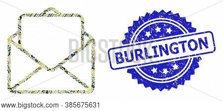 Military Camouflage Combination Of Open Letter, And Burlington Textured Rosette Stamp Seal. Blue Sta