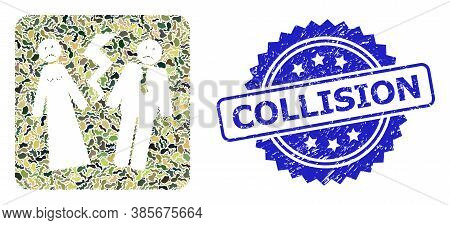 Military Camouflage Collage Of Broken Wedding, And Collision Grunge Rosette Stamp Seal. Blue Seal In