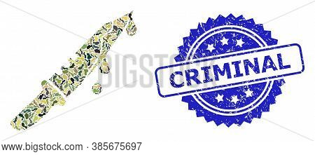 Military Camouflage Composition Of Blood Knife, And Criminal Rubber Rosette Seal. Blue Stamp Seal Co