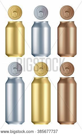 Aluminium Can Set. Isolated Blank Golden, Silver And Bronze Aluminium Or Steel Drink Can With Lid Mo