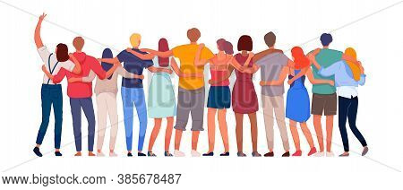 Happy People. Diverse Multi-ethnic People Character Group Hugging Standing Together Back View. Natio