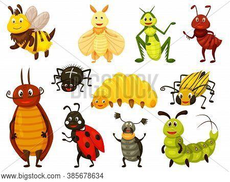Cartoon Beetle. Kawai Bug Isolated Set On White. Cute Wasp, Bee, Grasshopper, Fly, Ant, Caterpillar,