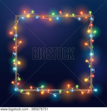 Christmas Bright Color Garland On Square Frame. Template With Realistic Lights On Blue Background. D