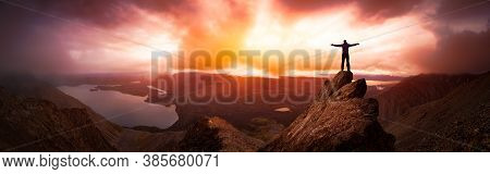 Magical Fantasy Adventure Composite Of Man Hiking On Top Of A Rocky Mountain Peak. Background Landsc