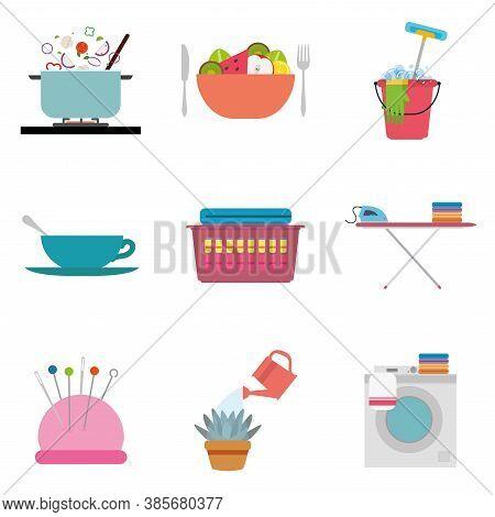 Set Of Housework Icons. Home Activities - Vector