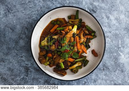 Plant-based Food,  Vegan Asian Inspired Stir Fry With Plant-based Protein