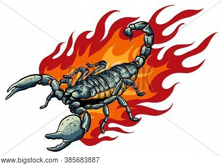 This Scorpion With Fire Vector Illustration Design