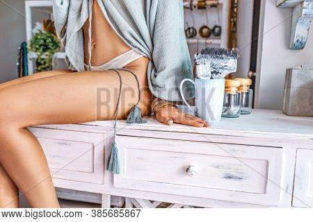 Beautiful Young Woman Drink Coffee In The Morning Close Up