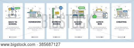 School Education. Exercise Books, Diary, Lunch Box, Homework. Mobile App Screens, Vector Website Ban