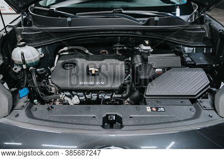 Novosibirsk, Russia - September 12, 2020: Kia Sportage, Close Up Of A Clean Motor Block. Internal Co