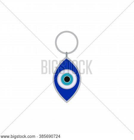 Blue Evil Eye Traditional Amulet Or Nazar Flat Vector Illustration Isolated.