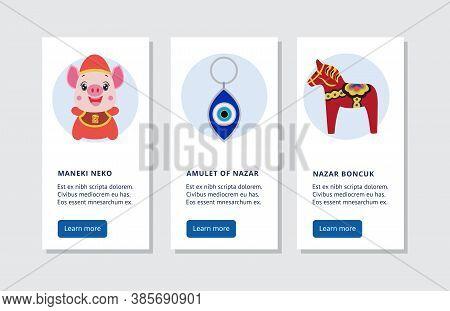 Luck And Fortune Symbol Banner Set - Maneki Neko, Nazar Amulet And Boncuk